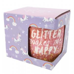 Glitter Makes Me Happy - Pink Gift Boxed Mug